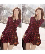 Korean Partysu Womens Cotton Blend #B Lapel Classic Vintage Plaid Shirt ... - $179,09 MXN+