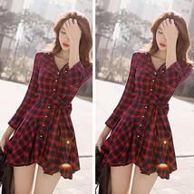 Korean #B Partysu Womens Cotton Blend Lapel Classic Vintage Plaid Shirt ... - $10.96+
