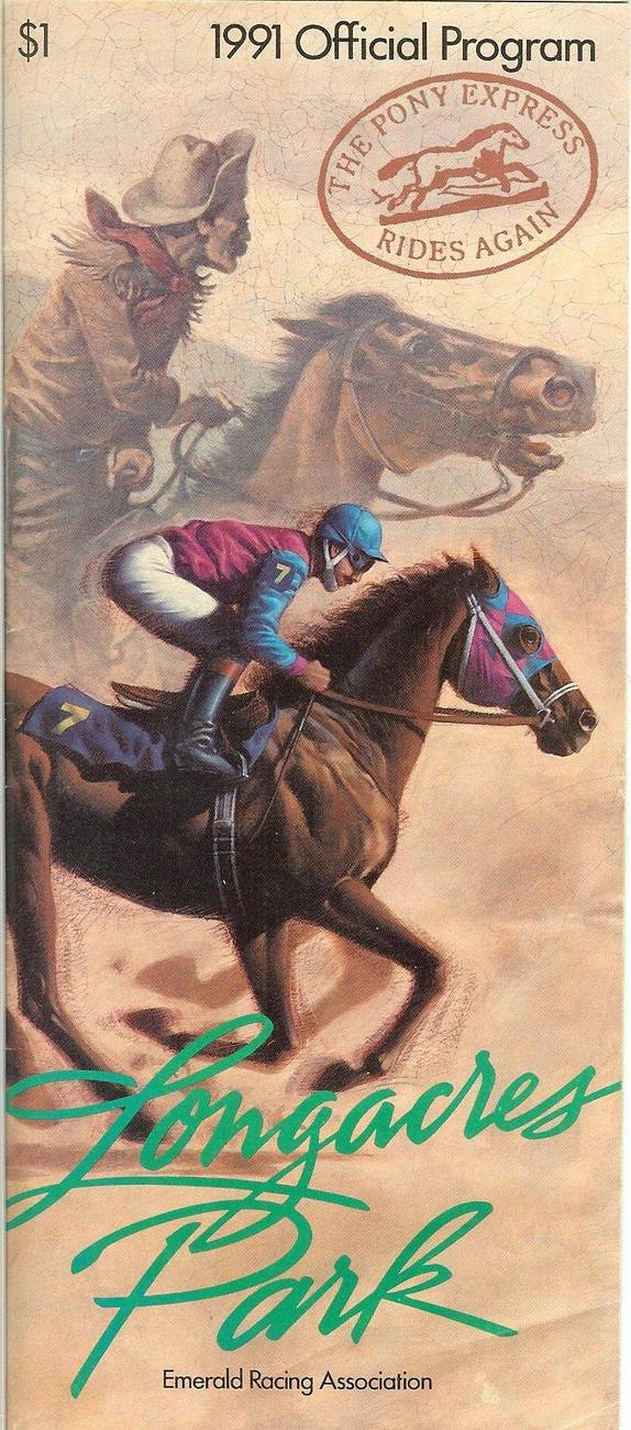 Primary image for 1991 longacres horse racing program renton race track jockeys