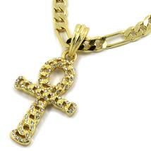"Mens 14K Gold Plated Ankh CZ Cross Pendant Hip-Hop 24"" Figaro Chain - €12,55 EUR"