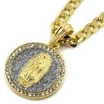"Mens Gold Plated Silver Tiny Stardust Virgin Pendant HipHop 24"" Flat Cub... - $14.84"