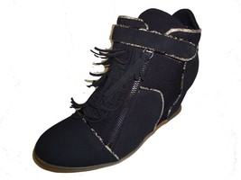 Fringe Curtains Black Wedge Ankle Top Women Shoe By Be&D/Maison Dumain - $51.41