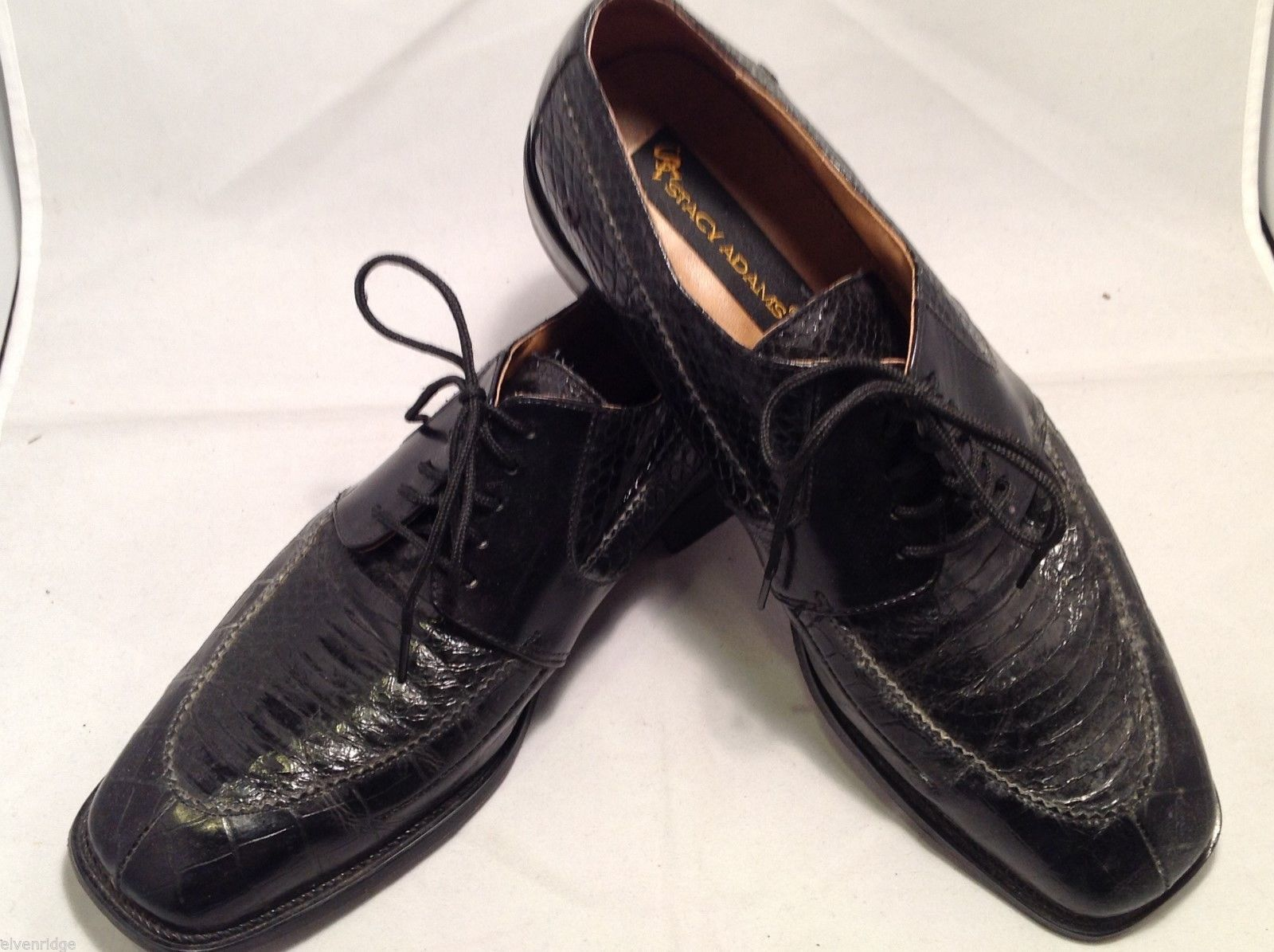 Stacy Adams Mens Black Genuine Snake Dress Shoes, Size 9.5