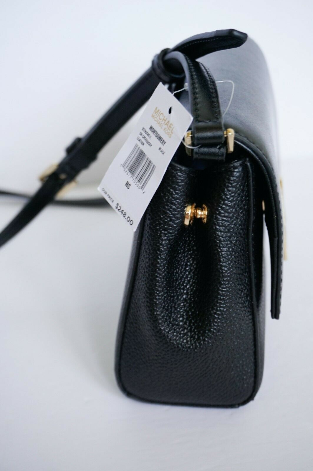 NWT MICHAEL KORS MONTGOMERY SMALL LEATHER CROSSBODY BAG BLACK image 11