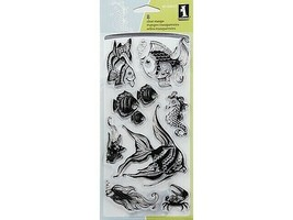 Inkadinkado Fish and Friends Clear Cling Stamp Set #60-30055 - $11.99