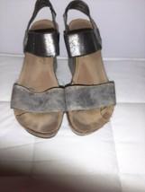 Pierre Dumas Wedge Sandals Size 6 Bronze Leather Platform - $9.49
