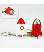 SET OF 2 ROCKET KEYCHAINS w LED LIGHT SOUND Red White Missile Toy Key Ch... - $8.95
