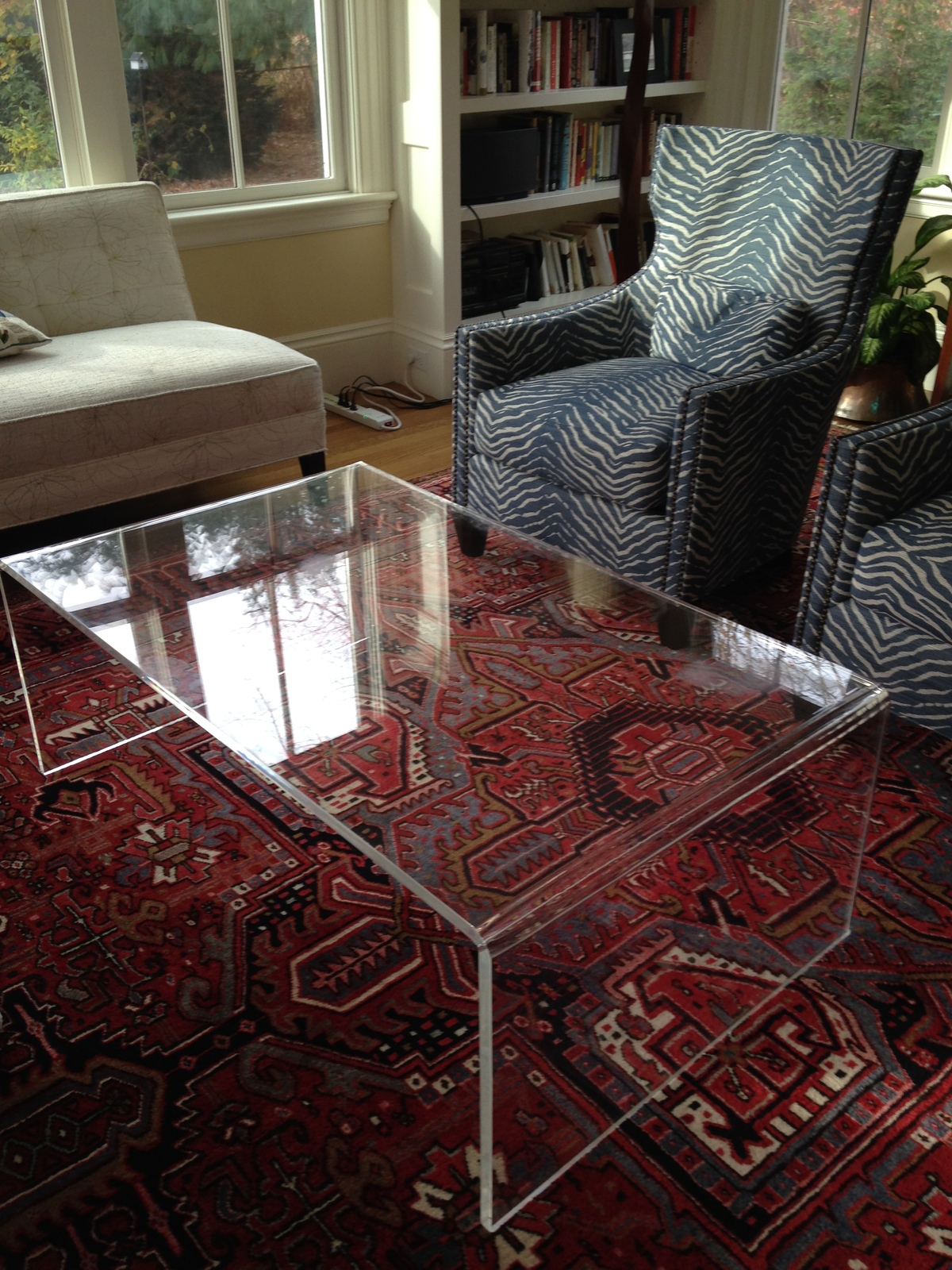 Handcrafted acrylic waterfall style coffee table in 3 4 for Coffee table 48 x 30
