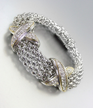 STUNNING X CZ Crystals Medallions Silver Metal Mesh Magnetic Bracelet - $42.99