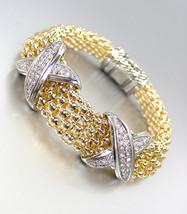 STUNNING X CZ Crystals Medallions Gold Metal Mesh Magnetic Bracelet - $42.99