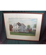 Vntg Original Framed Watercolor Victorian House Picture Signed Martha Ca... - $222.75