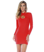 Forplay Chic Criss Cross Long Sleeve Mini Dress ~ Black, Red or White - $34.99