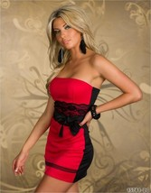 N131 Sexy Off-shoulder mini dress with lace belt, Size M-xL,red/black - $18.80