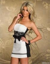 N131 Sexy Off-shoulder mini dress with lace belt, Size M-xL,white/black - $18.80