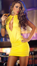 N021 Sexy neck halter blouse with keyhole front, free size, yellow - $18.80
