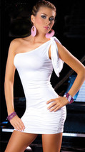 N029 Sexy adjustable single shoulder A-dress, free size, white - $18.80