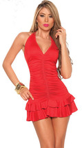 N028 Sexy neck halter layer dress with wrankle type, free size, red - $18.80