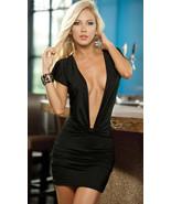 N065 Sexy Lycra dress, Deep V front, free size, black - $18.80