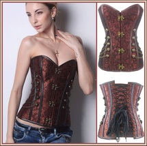 Renassiance Satin Brocade Victorian Goth Stud Chains Lace Up Corset with Panty