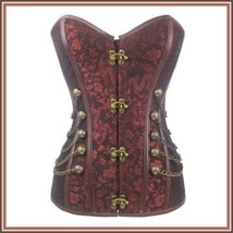 Renassiance Satin Brocade Victorian Goth Stud Chains Lace Up Corset with Panty image 2