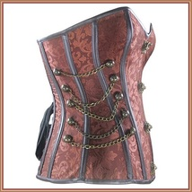 Renassiance Satin Brocade Victorian Goth Stud Chains Lace Up Corset with Panty image 3
