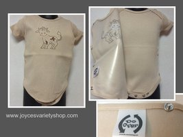 Onesie Spill Resistant Snap On Cover Character Cow Beige Color Sz 3-6 Mo... - $9.99