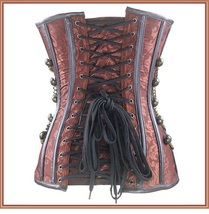 Renassiance Satin Brocade Victorian Goth Stud Chains Lace Up Corset with Panty image 4