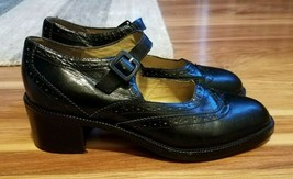 Kenneth Cole Black Leather Wingtip Mary Jane Block Heeled Shoes, Size 6.5 M - $23.38
