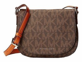 NWT Michael Kors Signature Bedford Medium Flap Messenger PVC Brown MSRP ... - $189.05