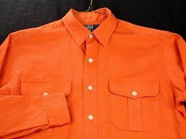 Polo by Ralph Lauren Orange Shirt Long Sleeve Leather Elbow Patches Size S VGUC - $28.98