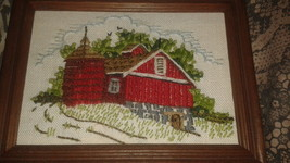 Needlepoint VINTAGE BARN FARM COMPLETED CREWEL EMBROIDERY SET OF 2 COUNT... - $19.79