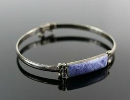 Vintage .925 Sterling Silver Blue Lapis Stone Rectangular Beaded Bracele... - $26.99