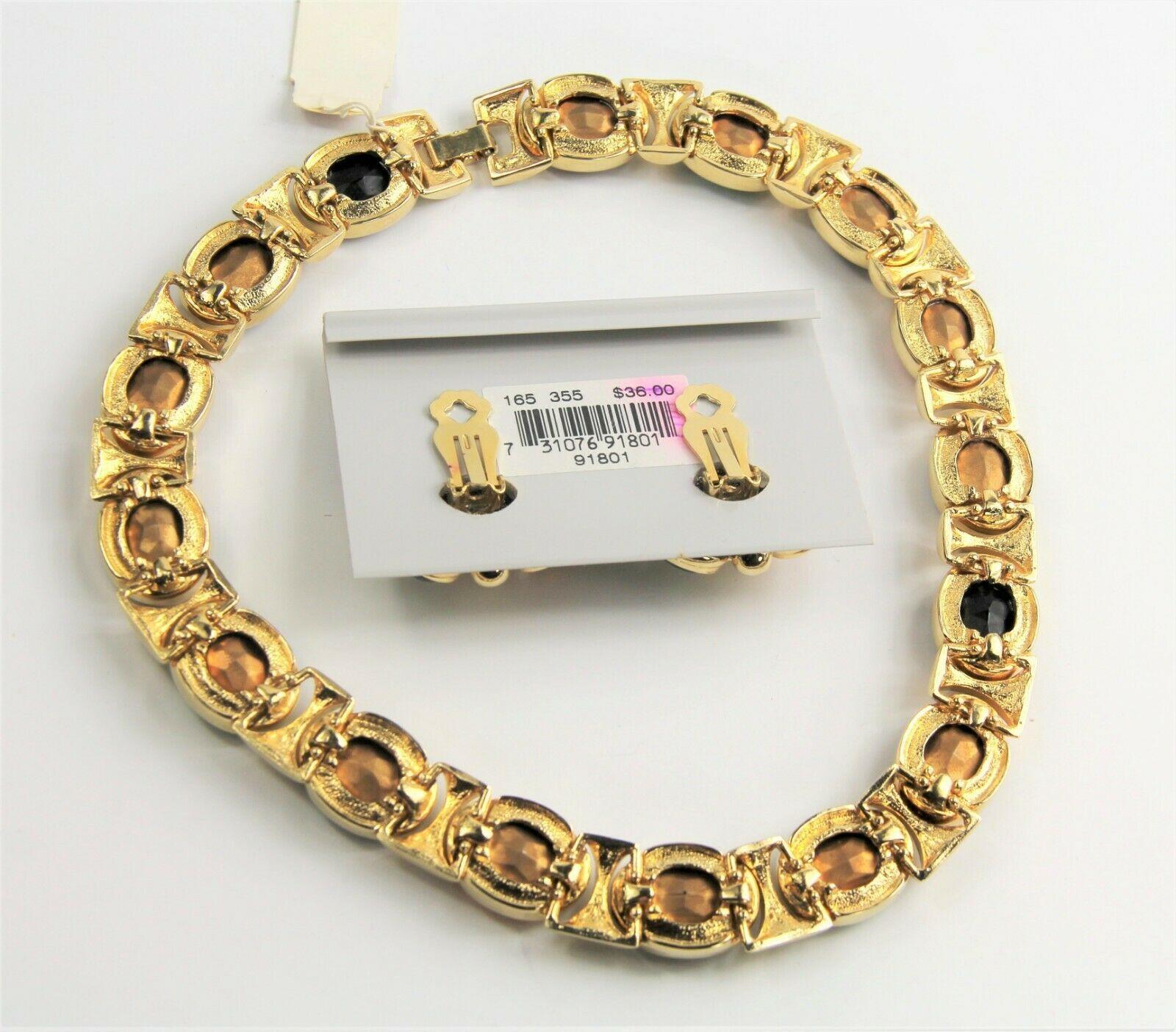 80s ESTATE VINTAGE Jewelry HIGH END NOS BIG GEM STATEMENT NECKLACE EARRINGS SET