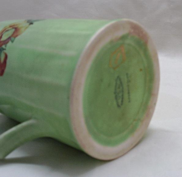 Vintage American Limoges // Limoges China Co. Sebring Oh. Emerald Glow Pitcher