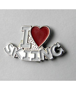 I LOVE SKIING EMBLEM LAPEL PIN BADGE 3/4 INCH - $4.46
