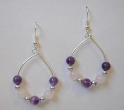 Purple Pink Hoop Beaded Earrings Silver Metal Handcrafted Pierced Dangle... - $32.00