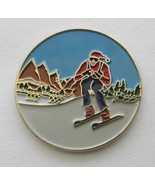 NOVELTY I LOVE SKIING EMBLEM ROUND LAPEL PIN BA... - $4.42