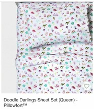 Pillowfort Doodle Darlings Girls FULL Sheet Set BE KIND PINATA RAINBOW P... - $24.74