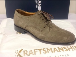 Handmade Men's Brown Suede Dress/Formal Lace Up Oxford Shoes image 6