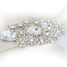 Handmade custom wedding bride Sash, ivory bridal belts, DIY crystal belt - $20.00