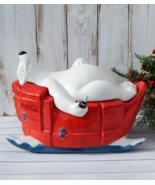 Coca-Cola Bear Cookie Jar by SAKURA, Rare Polar Bear on Sled with Coke B... - $145.00