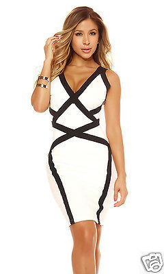 Forplay Noelle Bodycon Mini Dress Black & Ivory White