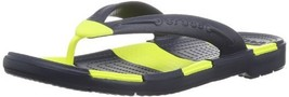 Crocs Unisex Beach Line Flip Navy/Citrus Sandal Men's 5, Women's 7 Medium - $28.99