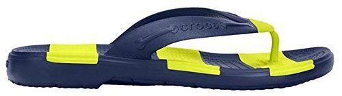 Crocs Unisex Beach Line Flip Navy/Citrus Sandal Men's 5, Women's 7 Medium