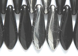 Large Dagger Czech Beads Black Chrome 5x16mm, 50 glass spear half silver - $3.50