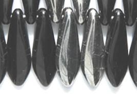 Large Dagger Czech Beads Black Chrome 5x16mm, 50 glass spear half silver - $3.50