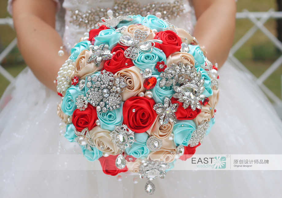 DIY Bridal Brooch Bouquet Jewelry Wedding Blue Amp Red Rose Bridal Bouquets