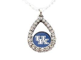An item in the Sports Mem, Cards & Fan Shop category: Kentucky Wildcats Blue Teardrop Clear Crystal Silver Necklace Jewelry UK
