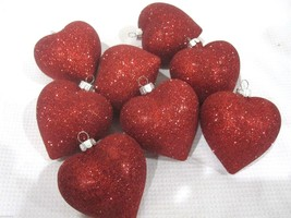 "Lot of (8) Valentines Day Glitter Red Hearts 2.5"" Ornaments Decorations ... - $17.99"