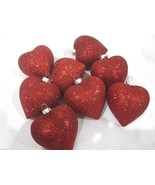 """Lot of (8) Valentines Day Glitter Red Hearts 2.5"""" Ornaments Decorations ... - $17.99"""